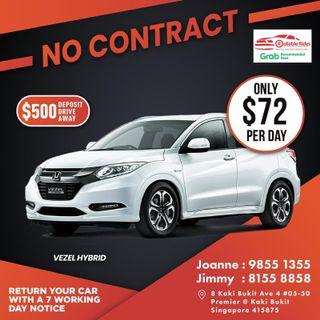 No Contract - Honda Vezel Hybrid           (Grab Fleet Partner PHV Car Rental)