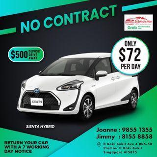 No Contract - Toyota Sienta Hybrid         ( Grab Fleet Partner PHV Car Rental )