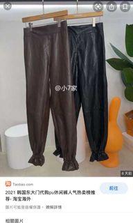 全新!韓國製Paris match咖啡色束口皮褲