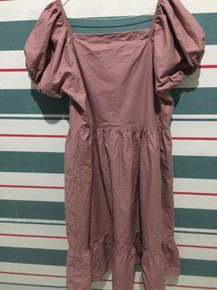 Premium alberting baloon dress set warna pink