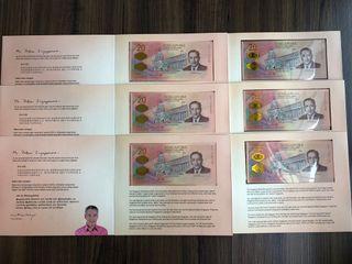 Singapore Bicentennial $20 Commemorative Banknotes 6 Runs (6 pcs)