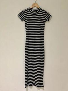 Zara連身條紋長洋裝