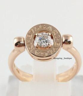 (全新售價約11萬)[二手正品]BVLGARI寶格麗 18k玫瑰金+單鑽0.25ct 51號