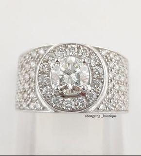 [二手正品]18k白金鑽石戒指 豪華戒台 主石1.06克拉 小鑽88顆 國際戒圍17號 可修改