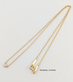 (專櫃售價約27500)[二手正品]TIFFANY&Co. 18k黃金 單鑽項鍊 5分