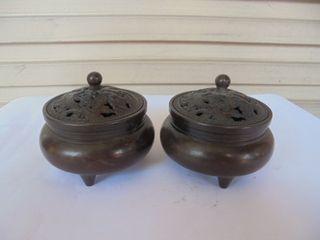 [六順民藝]小銅爐/銅香爐(含蓋)--雕龍鳳(重量397g, 403g)(相同的有兩個, 每個600元)(NO.3)