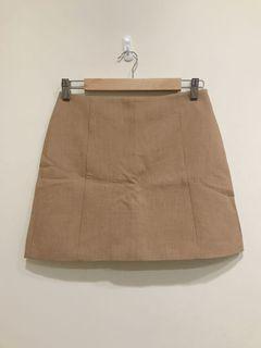 駝色質感棉麻短裙