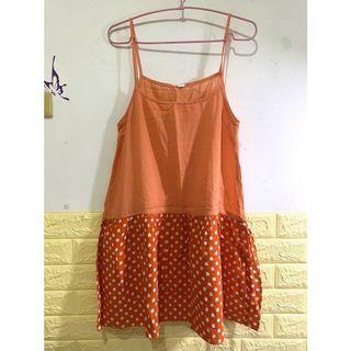 粉橘色圓點內/外搭裙