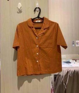 夏日橘色短袖襯衫