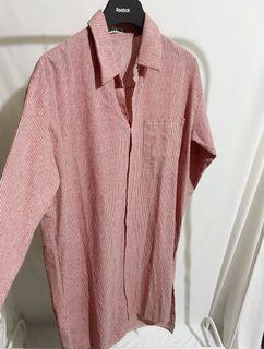 正韓條紋襯衫連身裙