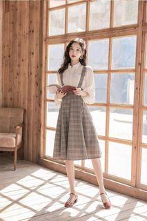 新款✨女神洋氣減齡氣質格紋 背帶裙