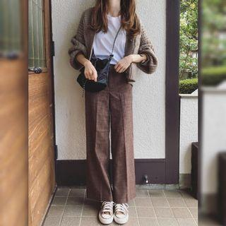 Authentic GU by Uniqlo check wide pants