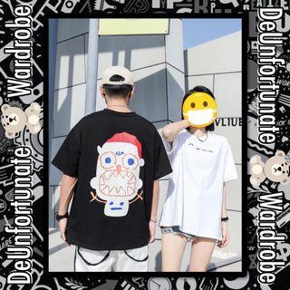 Brand New Oversized Korean Style Streetwear Snow Santa Cotton T-Shirt (Pls READ description below 👇)