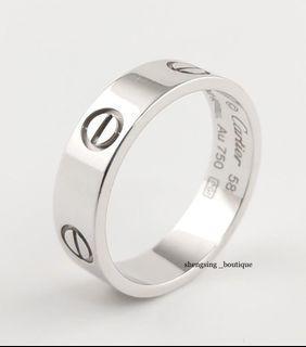 [二手正品]Cartier卡地亞 LOVE 18k白金戒指 寬版 58號 95新