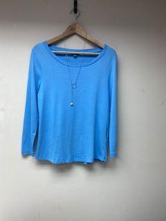 韓妞小清新休閒風Cos氣質款天藍色超柔膚上衣 (低於五折出售)