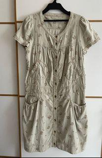 Franche Lippee 碎花粗金線登蕊絨布連身裙