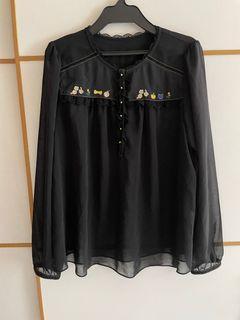 Franche Lippee 日本製 金線貓頭蝴蝶結刺繡雪紡上衣