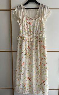 Franche Lippee 日本製 可愛兔仔森林米白色連身長裙