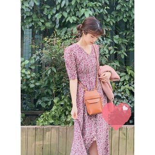 日系Fray土紅色兩種穿法洋裝