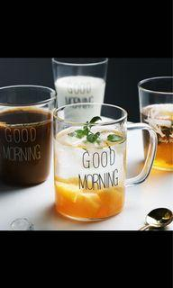 Glass good morning drink cup