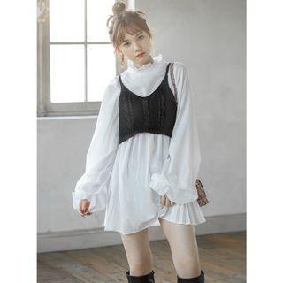 「二手」日系GRL兩件式針織襯衫洋裝