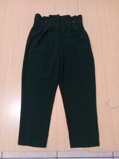 近新H&M墨綠色花苞褲M