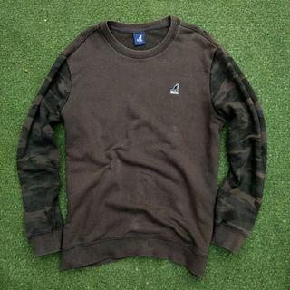Kangol 2 Tone Camo Camouflage Crewneck Sweater Sweatshirt Hoodie Army Military Loreng