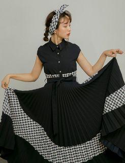 Marjorie 劃過真空,格紋拼色包袖襯衫(附頭巾)S