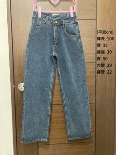 PLANET錯釦設計深灰藍牛仔寬褲