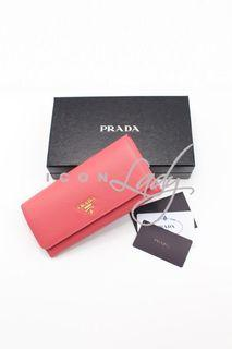 (Sale Promotion) PRADA 1M1132 Saffiano Metal 粉紅色 (TAMARIS) 皮革 按鈕長銀包 錢包