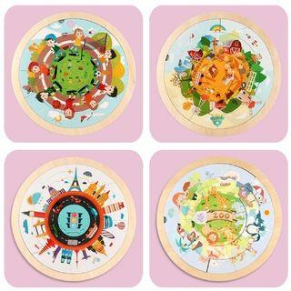 Wooden Jigsaw Round Puzzle/Puzzle Lingkaran/Mainan Edukasi Anak