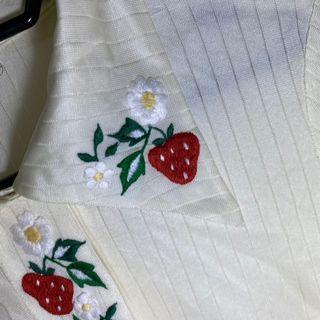 187.古著💁♂️刺繡草莓牛奶救星長袖薄襯衫
