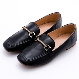 【超新🔥】簡約馬蹄鑽扣方頭軟底樂福鞋#黑色38/24號