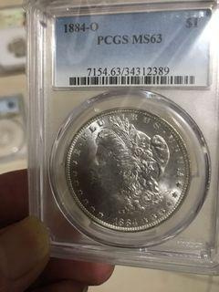 美國63分妹頭鹰圓銀幣。1884-O版的比較少。售價1200圓。面交郵寄都得。