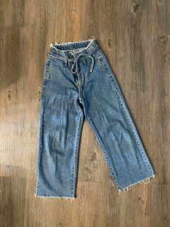 寬版縮口抽繩高腰牛仔褲