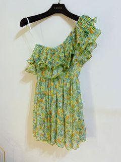 近全新韓版超仙清新綠斜肩荷葉領雪紡碎花洋裝