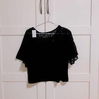 黑色蕾絲坑條上衣