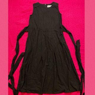 韓系黑色棉質綁帶長洋裝