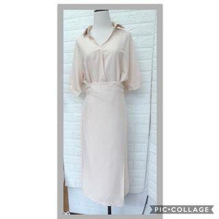 襯衫式顯瘦綁帶洋裝