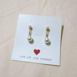 珍珠感氣質耳環 耳針式
