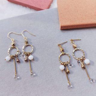 韋薇牌手作飾品- | 黃銅 玻璃珠 | 潘朵拉之鑰 | 黃銅耳環