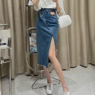 🆕 設計感高腰不規則包臀開叉中長款牛仔裙 size:XL-XXL