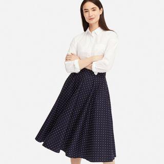 日本Uniqlo高腰波點 點點印花長裙 顯瘦高腰圓點圓裙