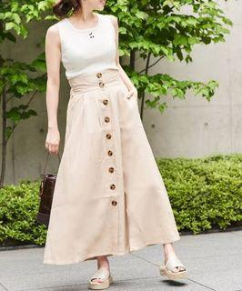 Authentic Who's Who Chico front button volume long skirt