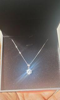 Brand New Silver Necklace with Crystal pendant