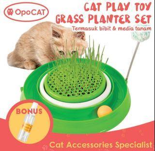 Cat Play Toy With Grass Planter Cat Toy Mainan Rumput Kucing/Mainan interaktif Kucing