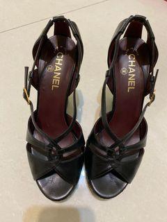 正品香奈兒Chanel 復古菱格粗根鞋