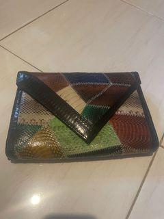 Clutch leather snake skin