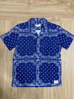 全新!Crimie 藍色古巴領十字花紋短袖襯衫上衣-S號