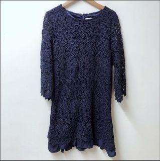 CUMAR 厚磅蕾絲雪紡雙層氣質洋裝